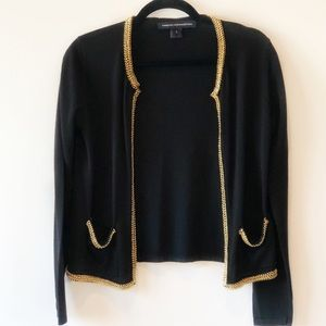 French Connection Open Cardigan w Gold Chain Trim